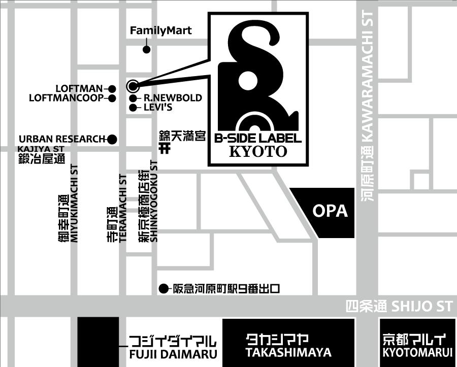B-SIDE LABEL京都店マップ